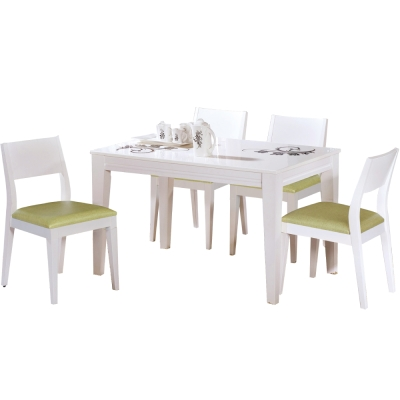 品家居 萊伊4尺白色石面餐桌椅組合(一桌四椅)-120x80x75cm-免組