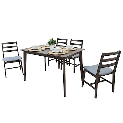 AT HOME-日系簡約4尺胡桃餐桌椅組-一桌四椅(120*80*75cm)