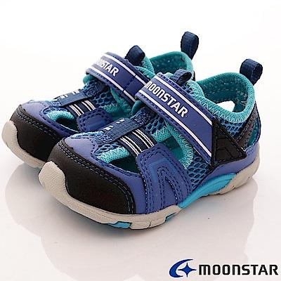 日本月星頂級童鞋 護趾機能涼鞋-BSE95藍(寶寶段)
