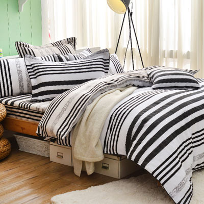 Grace Life 夜黑流星 精梳純棉加大全鋪棉床包兩用被四件組