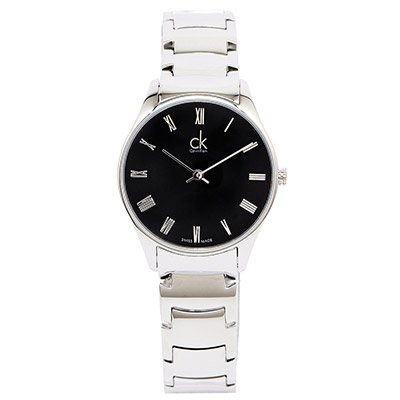 CK Classic 極簡羅馬刻度手錶(K4D2214Y)-黑面x銀色/32mm