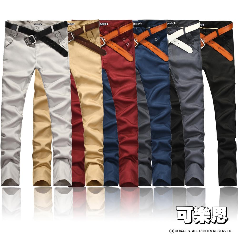 可樂思 口袋雙釦造型素面休閒長褲-共五色