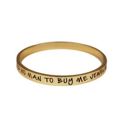 ETTIKA Need No Man To Buy Me Jewelry 金色文字手環