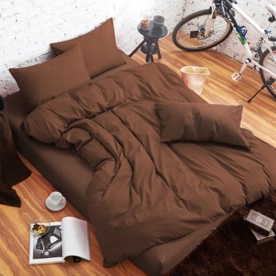 舒柔 精梳棉 二件式枕套床包組 單人 深咖 提案