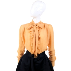 YES LONDON 柑橘色荷葉領長袖紗質襯衫