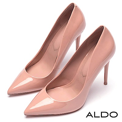 ALDO 派對女神金屬亮面尖頭細高跟鞋~氣質裸色