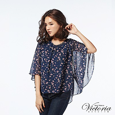 Victoria 多種穿法)變化蝴蝶袖型/背心-女-藍底花紋
