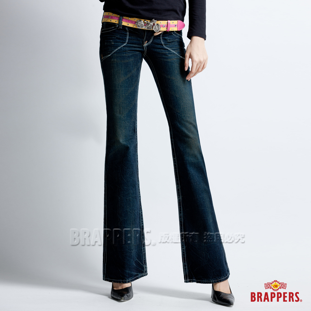BRAPPERS 女款 垮褲系列-女用大喇叭褲-深藍