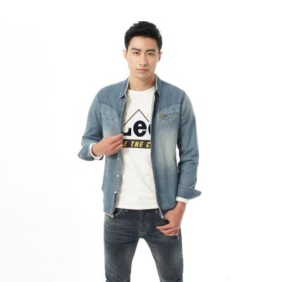 Lee牛仔襯衫101+ 長袖刷色 男款-淺藍
