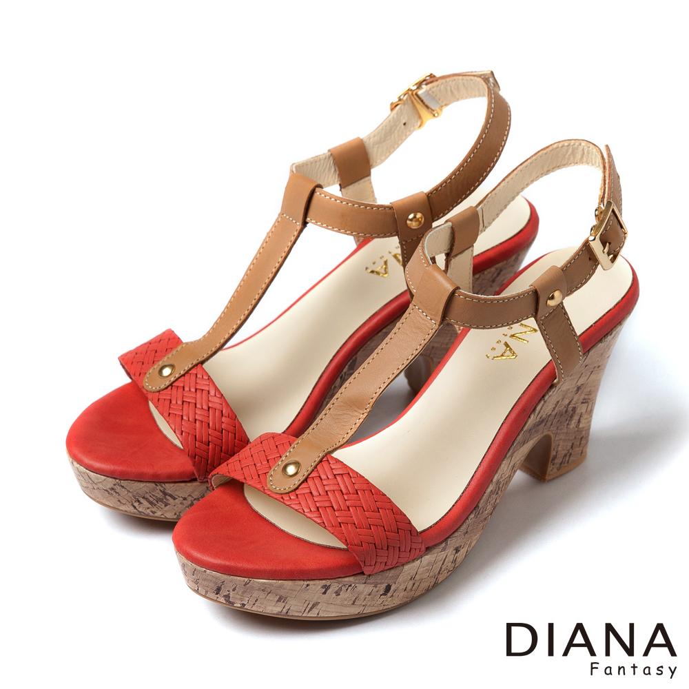 DIANA 夏日格調--T字編織時尚軟木紋涼跟鞋-橘紅