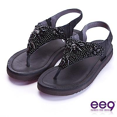 ee9 迷入視覺奢華閃耀鑲嵌珍珠露趾夾腳涼鞋 黑色