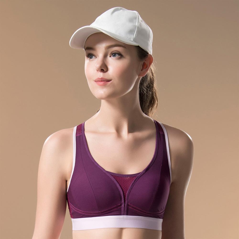 華歌爾-專業系列M-3L運動胸罩(勁情紫)背心式-避震舒適