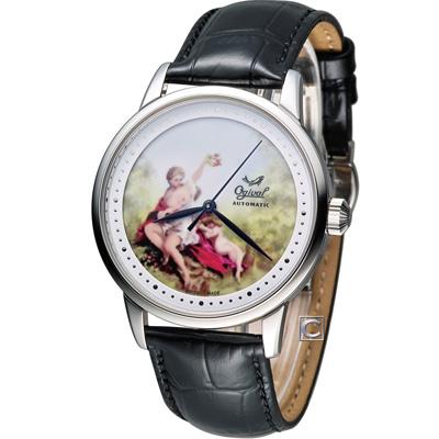 Ogival 愛其華 微砌彩繪機械腕錶-銀/40mm