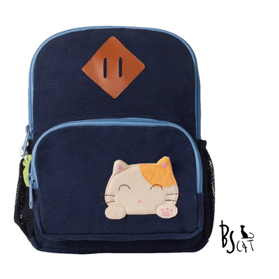 ABS貝斯貓 可愛貓咪手工拼布小型後背包 (藍) 88-211