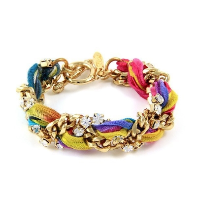 Ettika 美國品牌 水晶金鍊 古董絲緞帶編織 幸運手環 螢光X彩虹