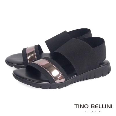 Tino Bellini 義大利進口時髦運動休閒繃帶平底涼鞋_黑+金屬