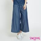 SOMETHING 天絲®垂墜柔軟闊腿褲-女-原藍磨