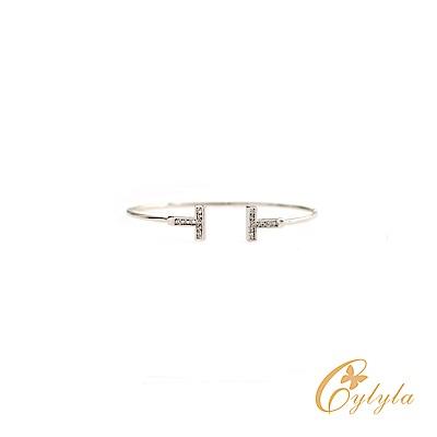 Cylyla思琳娜 T型三色水晶施華洛世奇C型手環BL1298G(銀色)