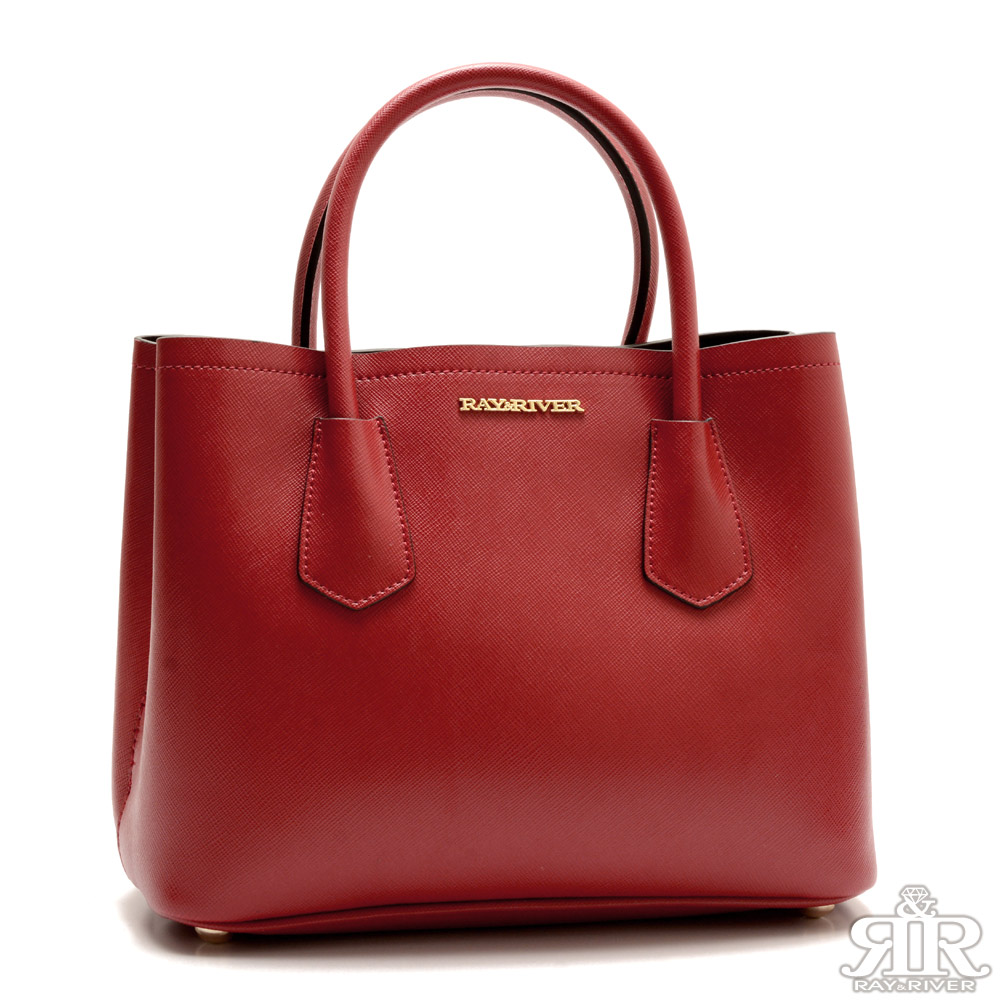 2R 十字紋防刮牛皮Beauty Bag 巴黎紅