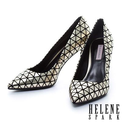 HELENE SPARK 時尚金屬電鍍球跟造型羊麂皮美型尖頭高跟鞋-金