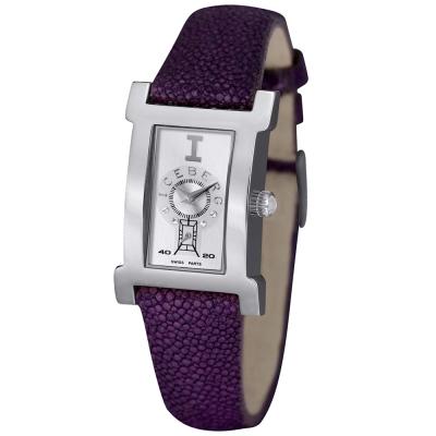 ICEBERG 珍愛自我系列珍珠魚皮錶腕錶-銀白x紫色錶帶/21x30mm