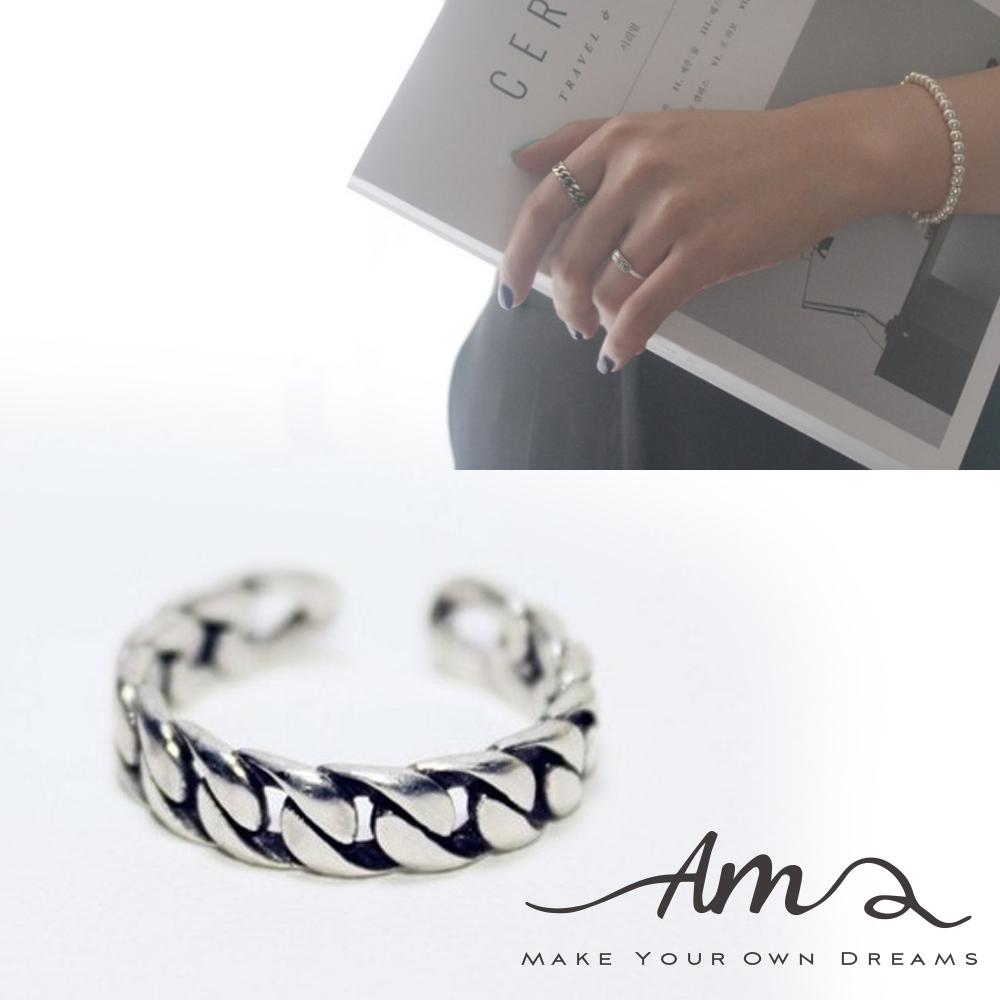 AM輕飾品編織鍊條純銀戒指開口戒活圍戒