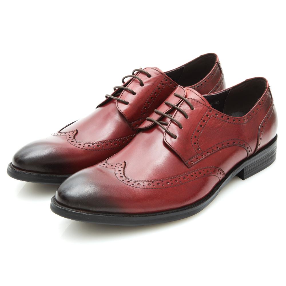ALLEGREZZA-率性紳士擦色皮革藝紋雕花尖頭綁帶鞋紅色
