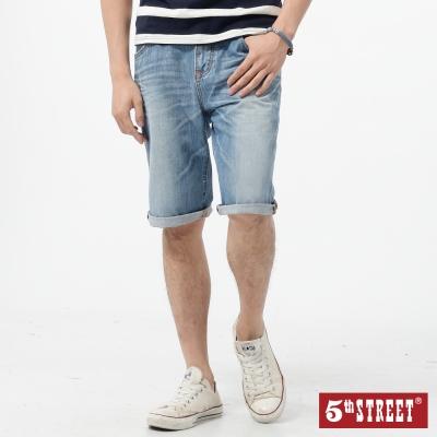 5th STREET 短褲 街霸基本牛仔短褲-男-漂淺藍