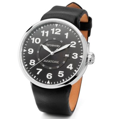 brosway Oblo Aviatore 精緻鋼面皮帶碗錶-黑/45.5mm