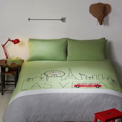 Yvonne Collection拉斯維加斯加大三件式被套組-草綠