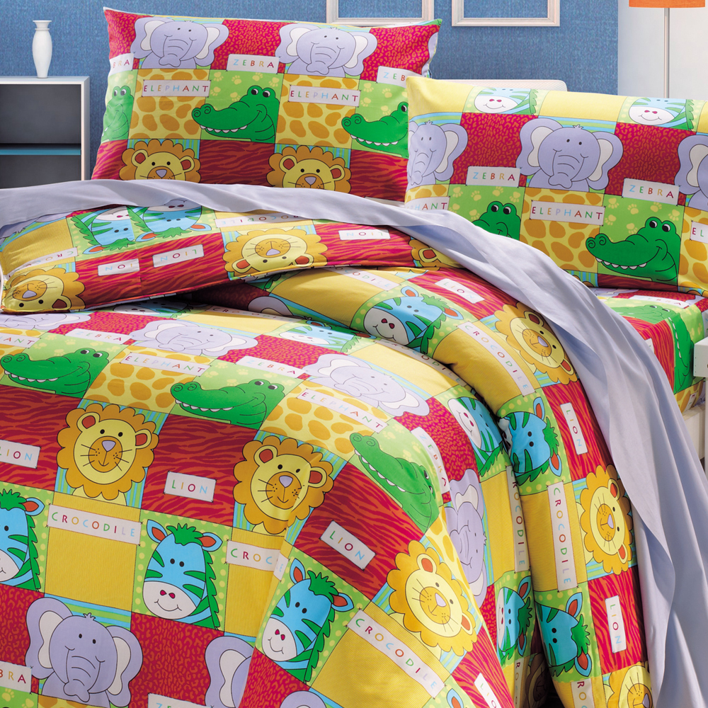 鴻宇 美國棉 防蹣抗菌 動物活寶 雙人床包枕套三件組