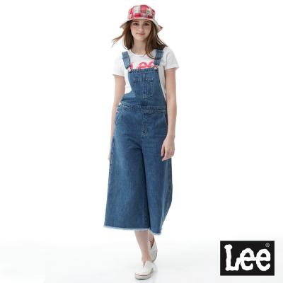 Lee 寬版牛仔吊帶寬褲-女款-藍