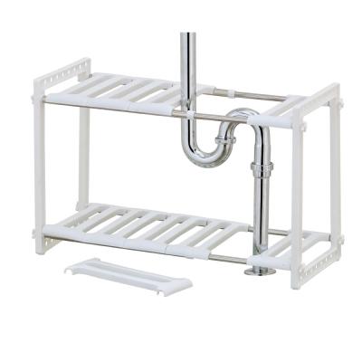 不鏽鋼可調式水槽下收納架
