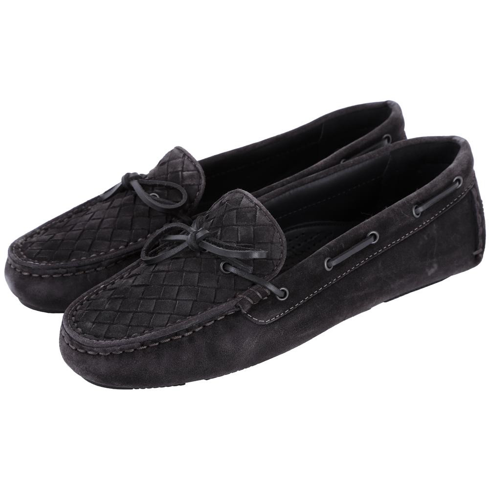 BOTTEGA VENETA 麂皮編織綁帶莫卡辛鞋(黑色)