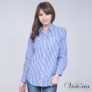 Victoria 直條拼接長袖襯衫-女-藍條