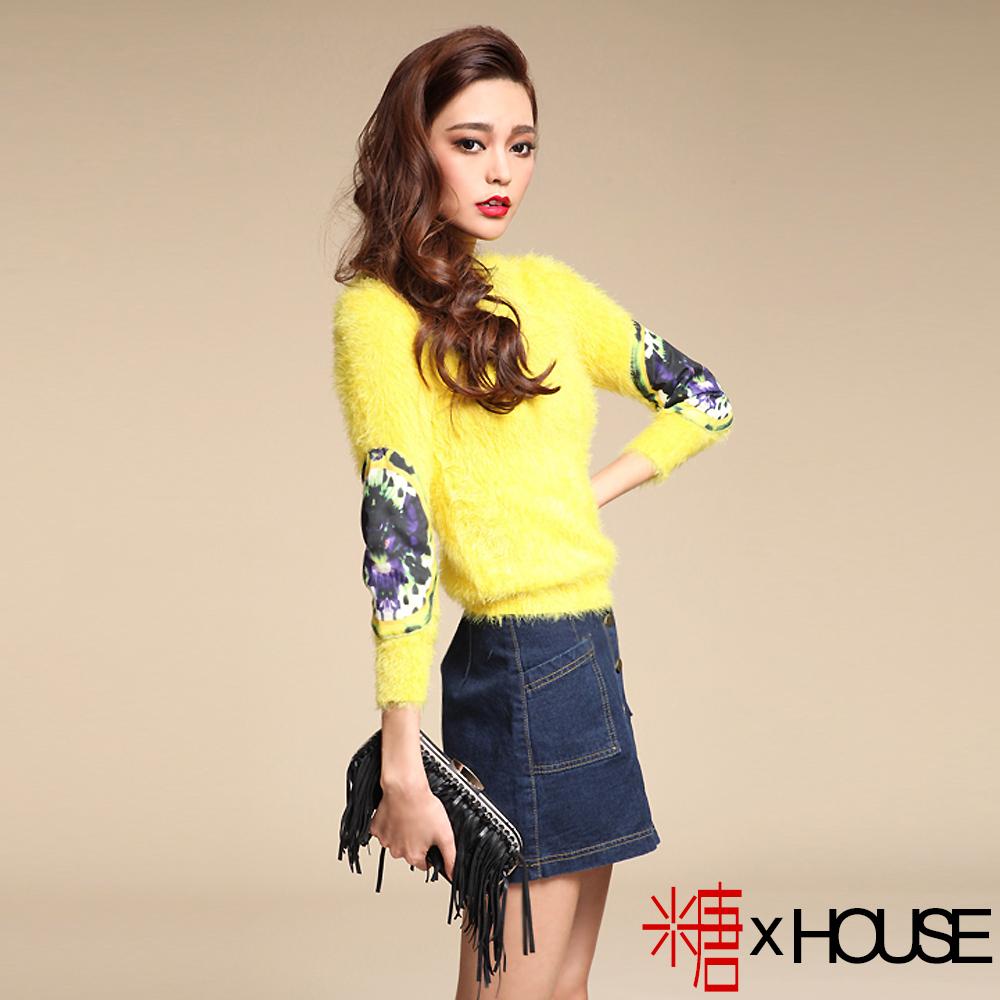 潮流塗鴨貼布袖馬海毛毛衣 (黃色)-糖 x House