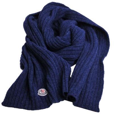 MONCLER 經典品牌圖騰羊毛直紋寬版造型圍巾(深藍色)