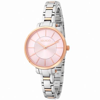 MANGO 閃耀佳人不鏽鋼時尚腕錶-粉/34mm
