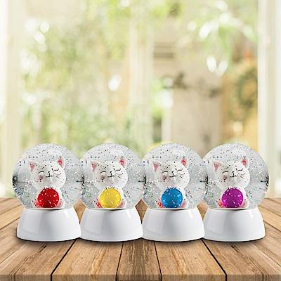 法國三寶貝 淘氣貓水晶球 紅藍紫黃 四色挑選