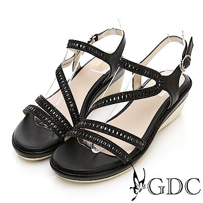 GDC-水鑽特殊設計交叉涼鞋-黑色