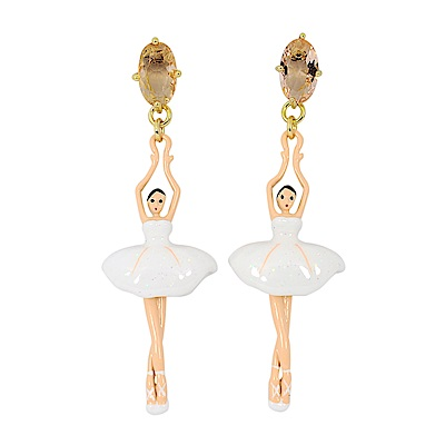 Les Nereides 優雅芭蕾舞女孩系列 芭蕾舞女粉鑽耳環針式 白色