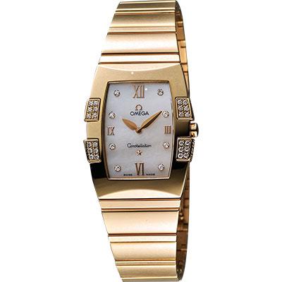 OMEGA 歐米茄 Constellation星座系列18K真鑽腕錶-珍珠貝x玫塊金/25mm