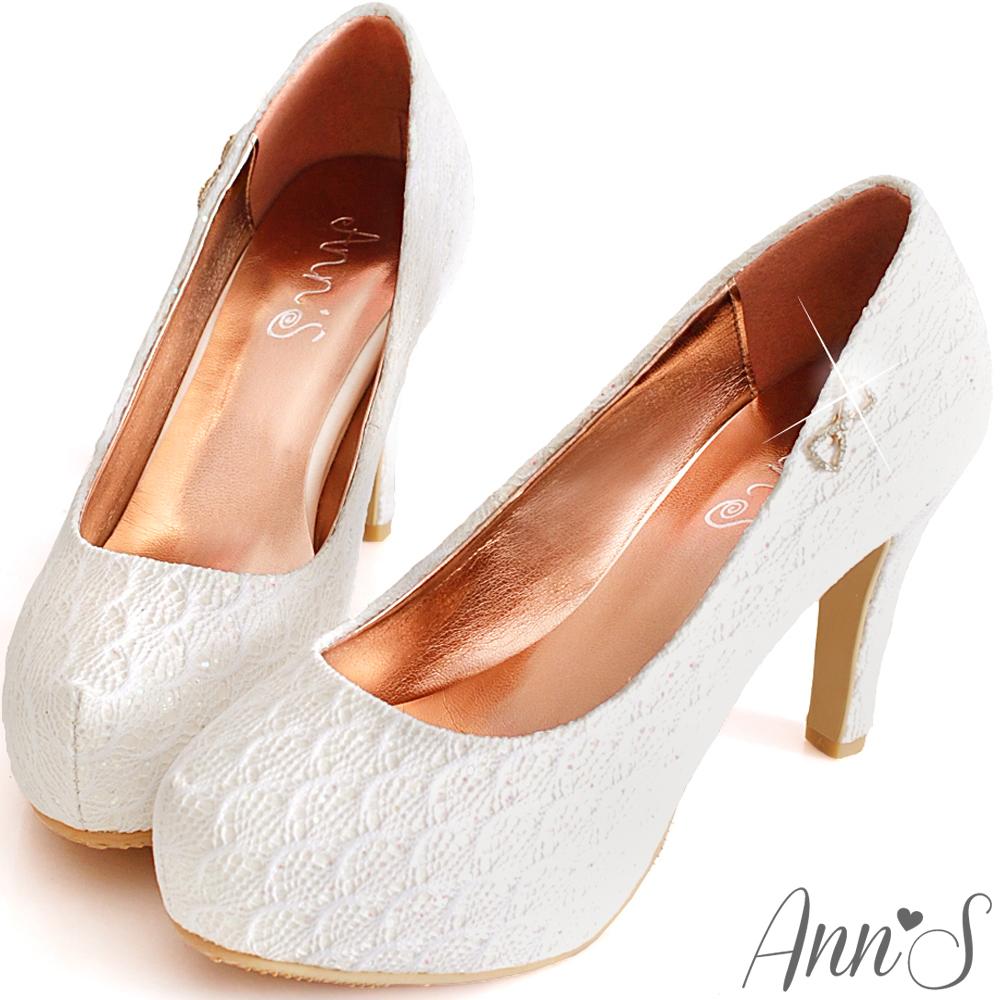 Ann'S絕美氣質-獨家訂製款bling蕾絲新娘跟鞋-白