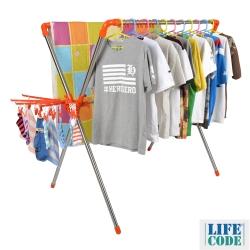 LIFECODE 日光免螺絲X型曬衣架(桔色)-附2個曬襪架+防風掛勾