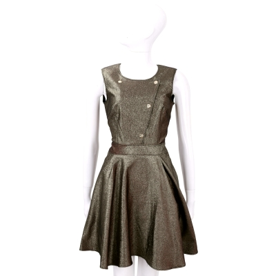 VERSACE 古銅金色半釦式剪裁無袖洋裝