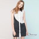 OUWEY歐薇 條紋撞色剪接無袖洋裝(白)