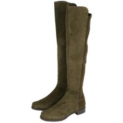 Stuart Weitzman 5050 麂皮拼接過膝長靴(墨綠色)