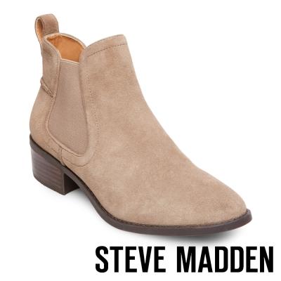 STEVE MADDEN-DICEY 真皮雀爾喜靴-絨棕灰