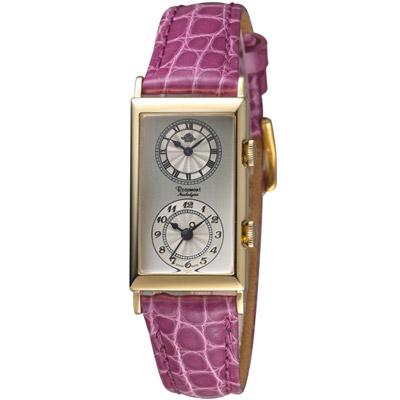 玫瑰錶 Rosemont 雙時區典雅時尚腕錶-紫色/33x20mm
