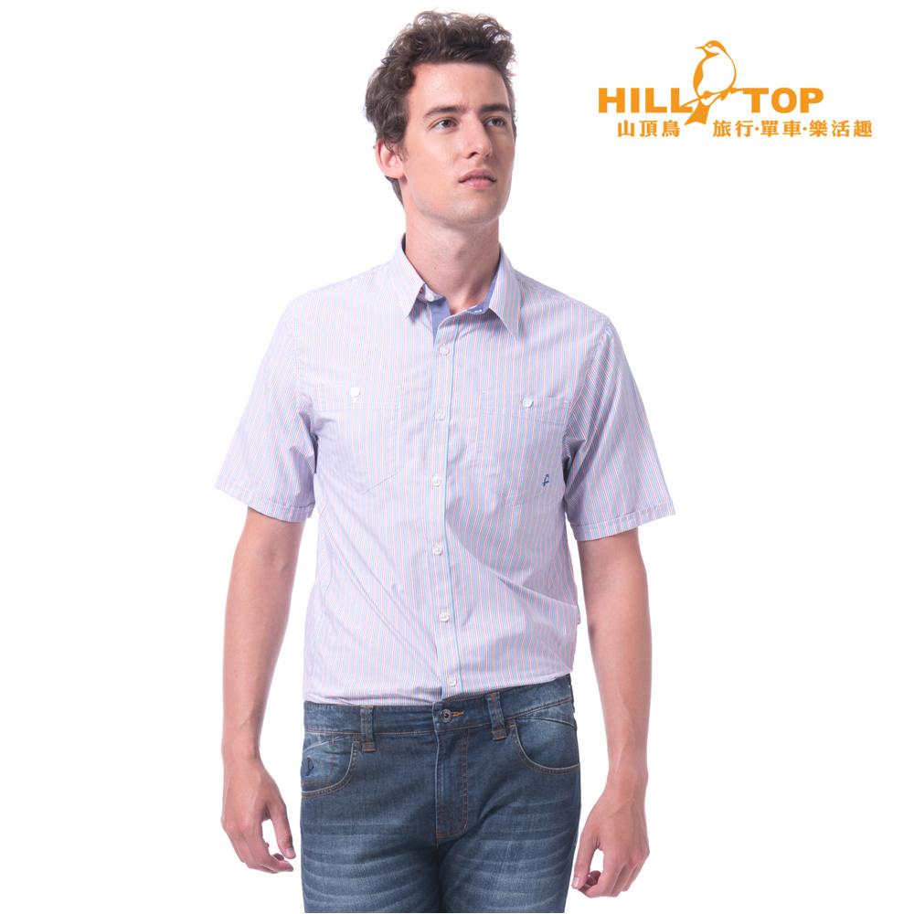 【hilltop山頂鳥】男款吸濕排汗抗UV抗菌短袖襯衫S06M63藍紅直條紋